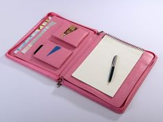 iPad 4 Pink Leather Case iPad 4 Zippered Portfolio in Pink Leather