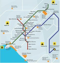 Athens metro map subway ,all lines crossing thru centre Syntagma
