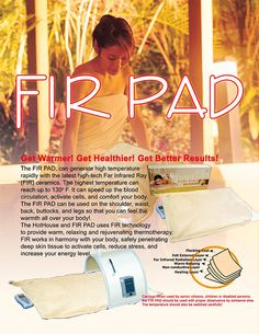 The Fir Pad can generate high temperature rapidly with the latest high-tech Far Infrared Ray (FIR) ceramics.