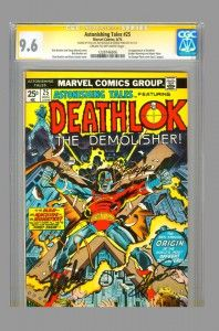 Triple signed Astonishing Tales #25 (1st appearance of Deathlok) by Stan Lee, George Perez, and Rich Buckler on www.vaultcollectibles.com. #deathlok #agentsofshield #cgcss #stanlee #georgeperez