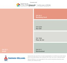 I found these colors with ColorSnap® Visualizer for iPhone by Sherwin-Williams: Jovial (SW 6611), Ravishing Coral (SW 6612), Sea Salt (SW 6204), Fleur de Sel (SW 7666), Rainwashed (SW 6211).