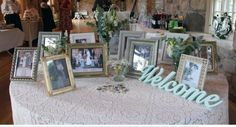 Table with family photos