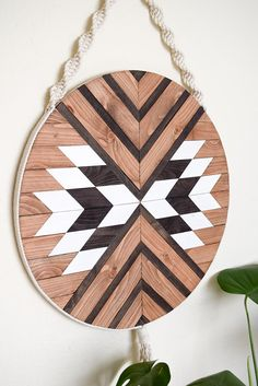 Wood Wall Art Macrame Wall Hanging Boho Wood Art Round