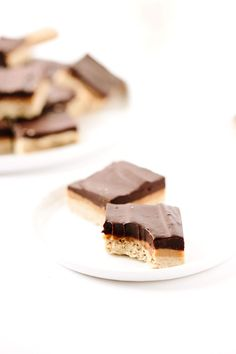 Vegan GF Peanut Butter Chocolate Ganache Shortbread Bars