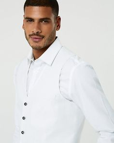 Linen Blend Contemporary Fit Vest - This dapper vest finished with an adjustable back is lightly structured in a cool, breathable blend of linen and cotton. Workout Vest, Dapper, Chef Jackets, Shirt Dress, Contemporary, Fitness, Cotton, Mens Tops, Shirts