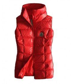 http://www.mysoccerusa.com/ - Moncler Designer Womens Down Vests Pure Color Red