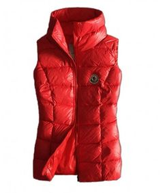 http://www.mysoccerusa.com/ - Moncler Designer Womens Down Vests Pure Color Red