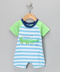 Take a look at this Blue & Green Stripe Alligator Romper - Infant by Absorba on #zulily today!