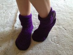 My crochet double cuff boots with leather sole - adult size - crochet slippers https://www.facebook.com/pages/Knotty-Girl-Crochet/122716291180099