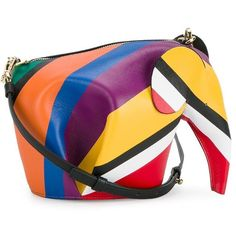 Multicoloured leather elephant crossbody bag from Loewe featuring a top zip fastening, a detachable and adjustable shoulder strap, a colour block design and a …