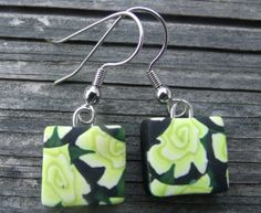 Unique Yellow Rose Polymer Clay Earrings  by clayandbeads4me, $5.00