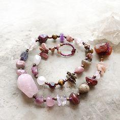 "Crystal wrap bracelet incl. Rose Quartz, Carnelian & Rubellite ~ for wrist size 6.5"" / Mia Illuzia"
