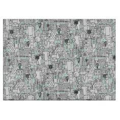 kitchen town mint cutting board #zazzle #sharonturner #scrummylicious #kitchen #board, gingerbread #illustration #art #cute