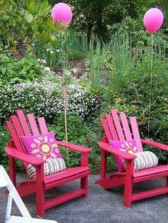 girly update to Adirondack chairs!