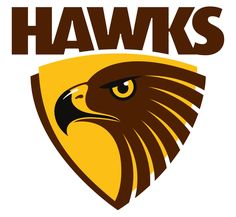 Logotype of Australian rules football team from Melbourne, playing in afl. Hawk Logo, Australian Football League, Western Bulldogs, St Kilda, Maya, Hawks, Live, Sports Logos, Sports Clubs