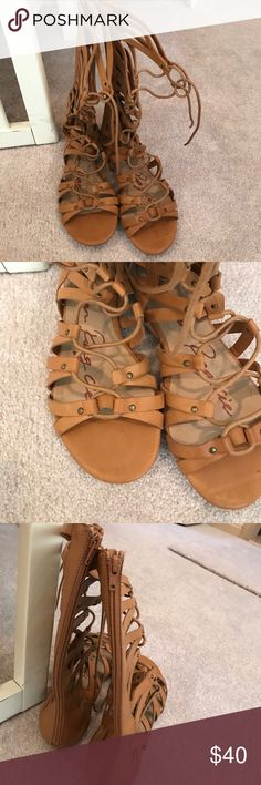Gladiator sandals Brand new. Tie front zip back. Comes to mid calf American Rag Shoes Sandals