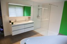 Victory furniture with mirror cabinet. Base cabinet in white mat ans wash basin in solid surface