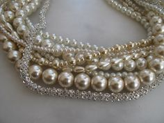 Chunky layered Wedding,campagne,ivory glass pearl necklace