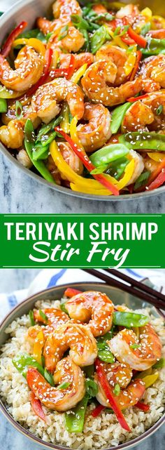 This recipe for teriyaki shrimp stir fry is shrimp and vegetables coated in a homemade teriyaki sauce and served over brown rice. An easy and healthy dinner option that's ready in less than 20 minutes(Seafood Recipes Gluten Free) Fried Shrimp Recipes, Shrimp Dishes, Fish Recipes, Seafood Recipes, Cooking Recipes, Healthy Recipes, Shrimp Dinner Recipes, Healthy Food, Chinese Shrimp Recipes