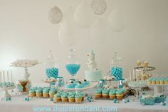 Winter table sweets, cupcakes, snowman cake, sweets, cake pops.