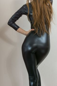 Sexy black wetlook catsuit jumpsuit front zip size 8(belt not included) | eBay