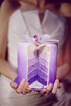 Purple ombre cake is gorgeous!!! Purple Wedding Cakes, Cake Wedding, Purple Cakes, Wedding Blog, Wedding Themes, Dream Wedding, Wedding Summer, Rainbow Wedding, Wedding Favours