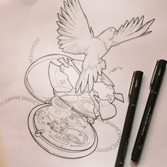 By @treybrazen #tattoo #tattoos #tattoodesign #tattoolinework #tattoosheffield #illustration #timepiece #pocketwatch #clock #watch #cog #cogs #gears #mechanism #mechanismillustration #technical #exploded #explodedwatch #dove #bird #dovetattoo #vaudeville #vaudevilletattooco #vaudevilletattoocosheffield