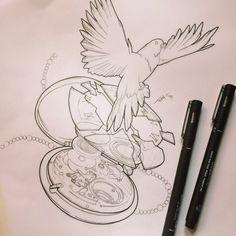 By @treybrazen #tattoo #tattoos #tattoodesign #tattoolinework #tattoosheffield #illustration #timepiece #pocketwatch #clock #watch #cog #cogs #gears #mechanism #mechanismillustration #technical #exploded #explodedwatch #dove #bird #dovetattoo #vaudeville #vaudevilletattooco #vaudevilletattoocosheffield