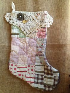 Vintage Quilt Christmas Stocking 2019 Vintage Quilt Christmas Stocking by Itty. Vintage Quilt Christmas Stocking 2019 Vintage Quilt Christmas Stocking by IttyBittyCottage on Ets Quilted Christmas Stockings, Quilted Christmas Ornaments, Xmas Stockings, Christmas Sewing, Primitive Christmas, Christmas Fun, Vintage Christmas, Christmas Patchwork, Christmas Quilting