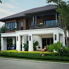 Single House at San Sai, Chiangmai from Sansiri Village House Design, Bungalow House Design, House Front Design, Modern House Design, Modern Tropical House, Tropical House Design, Tropical Houses, Courtyard House, Facade House