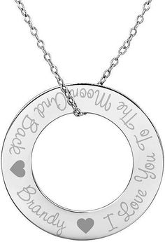 b30678348590 FINE JEWELRY Personalized Sterling Silver 29mm I Love You To The Moon And  Back Round Pendant Necklace. Colgante Redondo ...