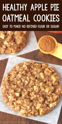 Healthy Cookie Recipes, Oatmeal Cookie Recipes, Healthy Cookies, Healthy Sweets, Healthy Baking, Baking Recipes, Apple Cookie Recipe, Healthy Recipes With Apples, Cookies With Oatmeal