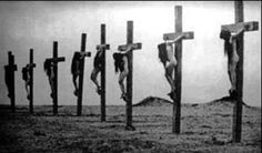 A still frame from the 1919 documentary film Auction of Souls, which portrayed eye witnessed events from the Armenian Genocide, including crucified Christian girls.