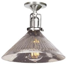 """Mercury Glass Cone Industrial Ceiling Light flush mount ribbed mercury glass shade beneath industrial inspired hardware in Bronze Add our """"Vintage Edison Bulb""""  60 watts. (medium base socket)  (7.5""""Hx10""""W)  5"""" canopy  By Shades of Light"""