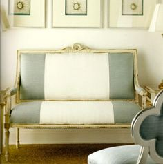 #verdigris and white chaise...