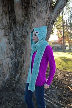 Pastel blue-green hooded scarf with Speckled by HattieReegans