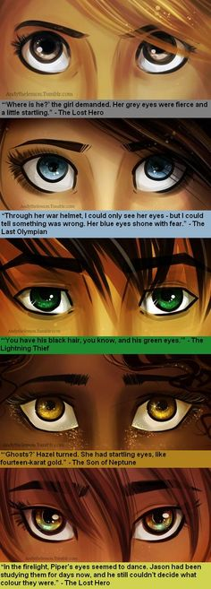 Percy Jackson and the Olympians/Heroes of Olympus Characters eyes