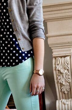 mint pants + navy blue polka dot top + gray cardigan.