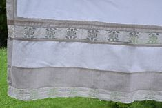Pair of Pure Linen Sheets Antique Romantic Lace Fabulous French C 1910 Material Organic Upholstery Crocheted Lace Home Decor Rustic Upholstery Fabric, Antique Beds, Blue Towels, Linen Sheets, Romantic Lace, Linen Curtains, Gorgeous Fabrics, Crocheted Lace, Pure Products