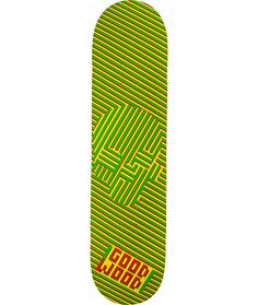 """The Goodwood Dizzy Skulls 7.75"""" skateboard deck features a custom Goodwood graphic rasta colored zig zag pattern forming a skull in the middle on a 7-ply maple construction with the perfect shape for shredding any type of terrain you roll to.  Grip it and"""
