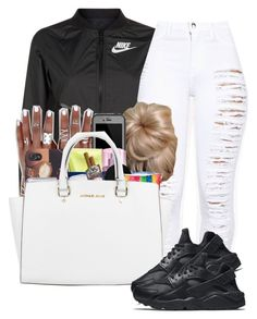 """""""juss cuz I love ya"""" by lovermonster ❤ liked on Polyvore featuring NIKE, LifeProof and Michael Kors"""