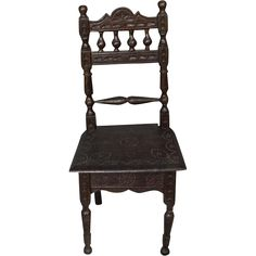 Antique French Brittany Bretagne Elaborate Carved Doll Chair!