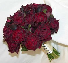 'Black Bacara' roses - accented with Cotinus foliage and 'Schwartzwalder' miniature callas