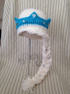 Frozen Elsa Hat with crown and braid attached. Proudly made bye me! Proud Child Crochet boutique www.Proudchild.com