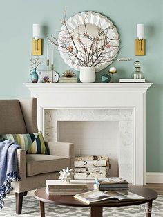 Minty greens, whether light or dark in tone, are flexible hues that act as neutrals yet demand attention. Here, mint walls handily showcase white elements, a fetching fireplace, and silver, glass, and gold accessories. A navy throw and turquoise pieces on the mantel pick up on the wall color's blue undertones./