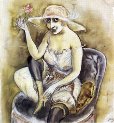 Girl with Pink Rose - Otto Dix