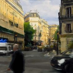 """Ben Aronson (American, born 1958) """"Rising Shadows, Boulevard Saint Germain,"""" 2008, oil on panel, 12 x 12 in. Private collection"""