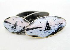 Elvik scenic cufflinks Enamel Jewelry, Jewellery, Vintage Clothing, Vintage Outfits, Midnight Sun, Enamels, Boats, Scandinavian, Cufflinks