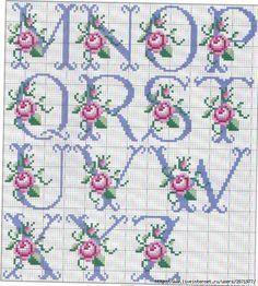 So pretty ~ cross stitch monogram alphabet with roses.