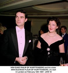 HRH DUKE PHILIP OF WURTTEMBERG and his sister HRH DUCHESS FLEUR OF WURTTEMBERG, at a ball in London on February 18th 1997.LWM 19
